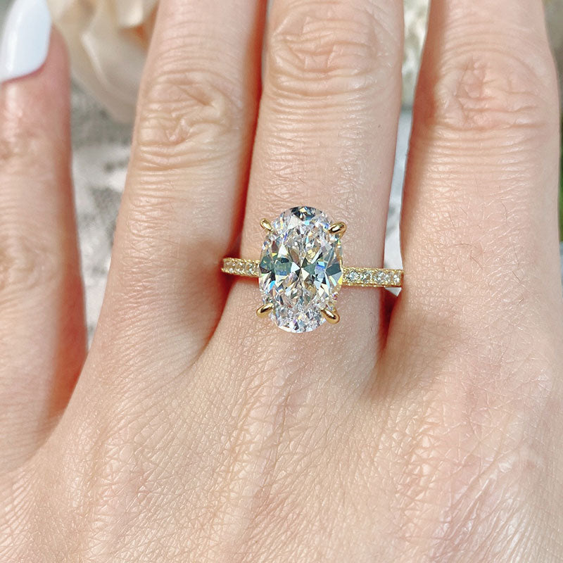 Louily Yellow Gold 3.5 Carat Classic Oval Cut Engagement Ring In Sterling Silver
