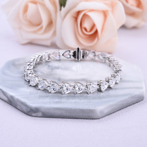 Louily Stunning Heart Cut Bracelet for Women In White Gold