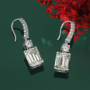 Louily Sterling Silver Luxury Emerald Cut Drop Earrings