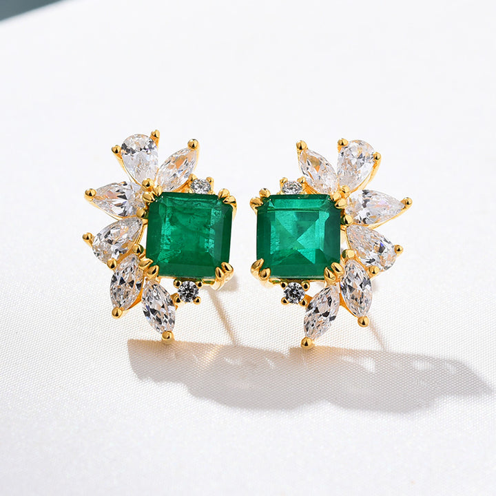 Flower Design Princess Cut Sona Simulated Diamond Emerald Green Women's Stud Earrings In Sterling Silver