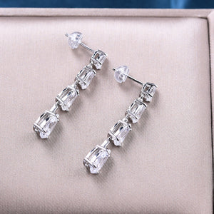 Pear Cut White Sapphire Drop Earrings In Sterling Silver
