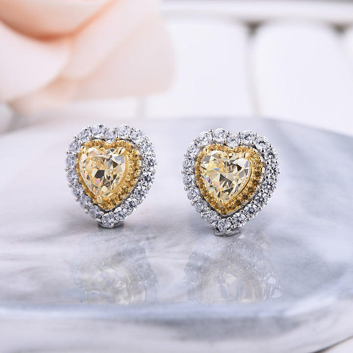 Halo Heart Shaped sona simulated diamond Yellow Sapphire Sterling Silver Women's Stud Earrings