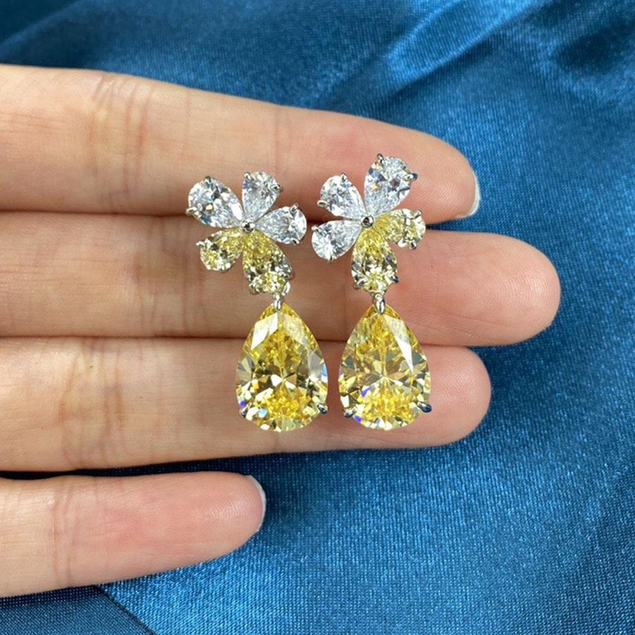 Unique Flower Design Yellow Sapphire Pear Cut Earrings In Sterling Silver