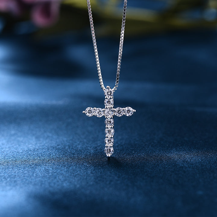 Louily Sterling Silver Fashion Cross pendant Necklace