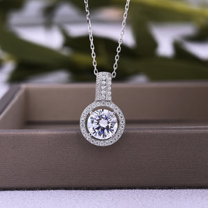 Halo White Gold Classic Round Cut Women's Pendant Necklace In Sterling Sliver