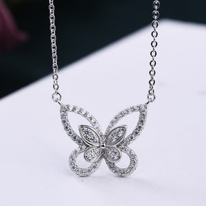 Louily Beautiful Butterfly Design Pendant Necklace In Sterling Silver