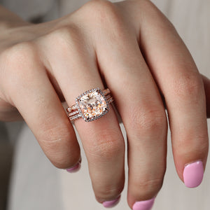 Louilyjewelry Rose Gold Cushion Cut 3-Pieces Wedding Ring Set