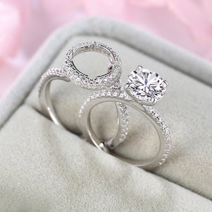 Louily Sterling Silver Round Cut Halo Insert Wedding Set