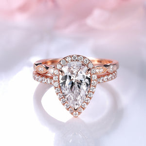 Louily Rose Gold Halo Pear Cut Wedding Ring Set
