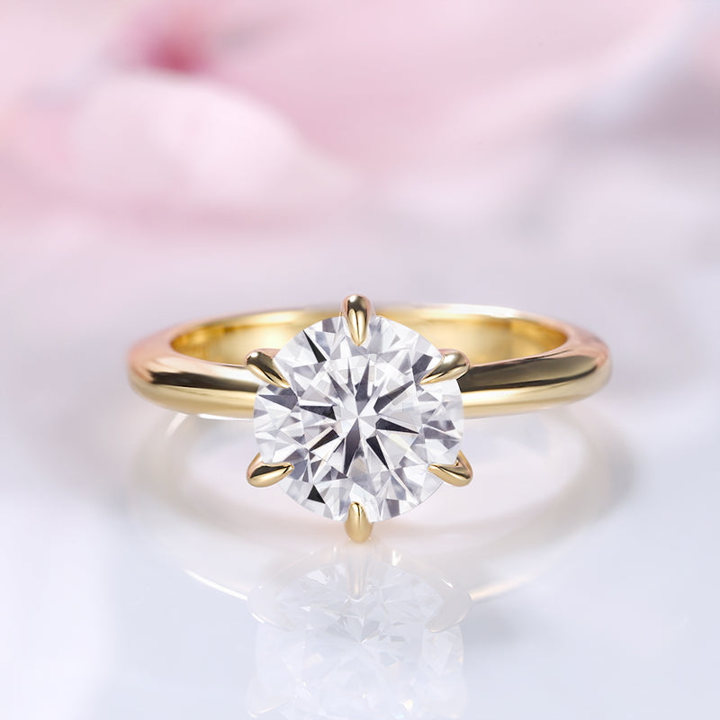 Louilyjewelry Yellow Gold Classic Round Cut Solitaire Engagement Ring