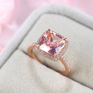 Louily Rose Gold Cushion Cut Synthetic Morganite Halo Engagement Ring