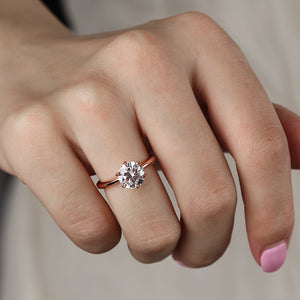 Louilyjewelry Rose Gold Classic Round Cut Solitaire Engagement Ring