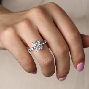 Louily Radiant Cut Engagement Ring In Sterling Silver