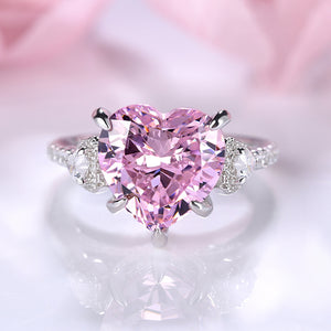 Louily Royal Romantic Pink Stone Heart Cut Engagement Ring In Sterling Silver