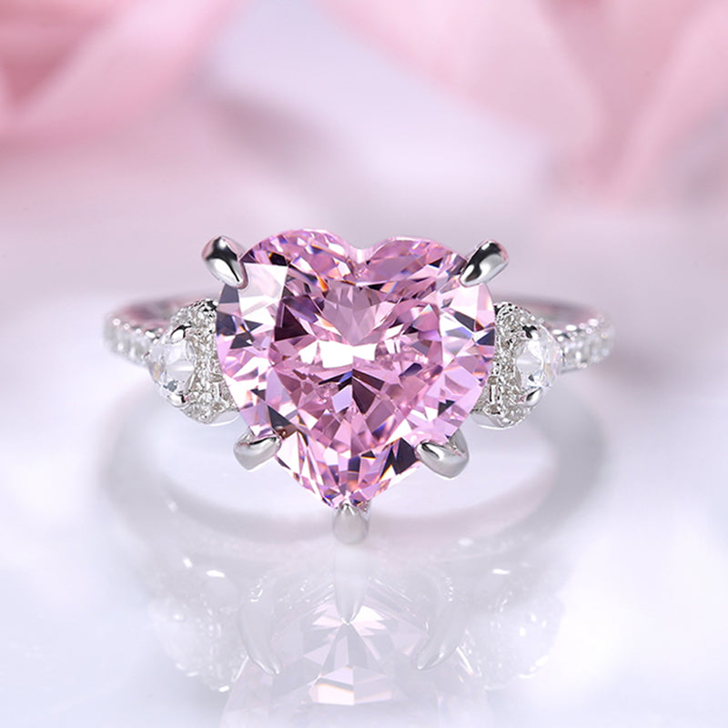 Louily Sterling Silver Royal Romantic Pink Stone Heart Cut Engagement Ring