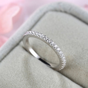 Louily Sterling Silver Classic Half Eternity Thin Women's Wedding Band