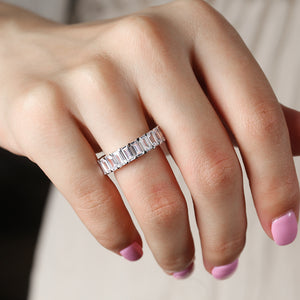 Louilyjewelry Sterling Silver Eternity Emerald Cut Women's Wedding Band