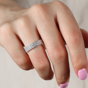 Louilyjewelry Sterling Silver Luxury Pave Women's Wedding Band
