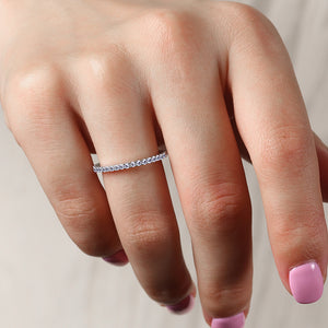 Louily Sterling Silver Classic Full Eternity Thin Wedding Band For Women