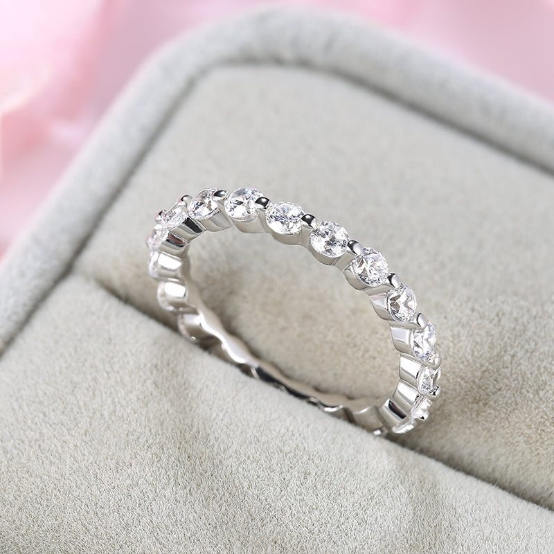 Louily Sterling Silver Fashion Eternity Round Cut Wedding Band