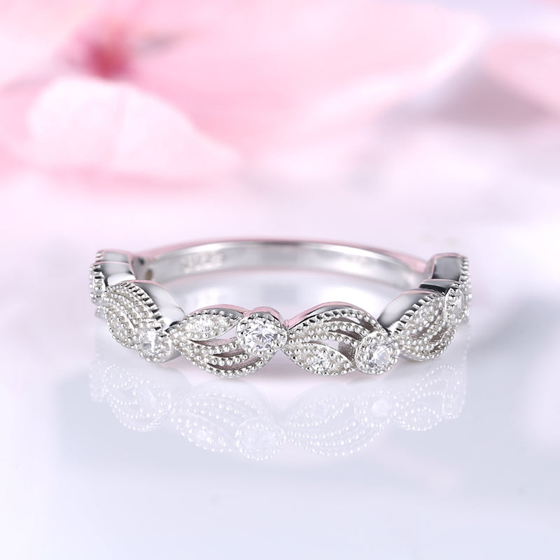 Louilyjewelry Sterling Silver Vintage Leaf & Vine Art Deco Wedding Band