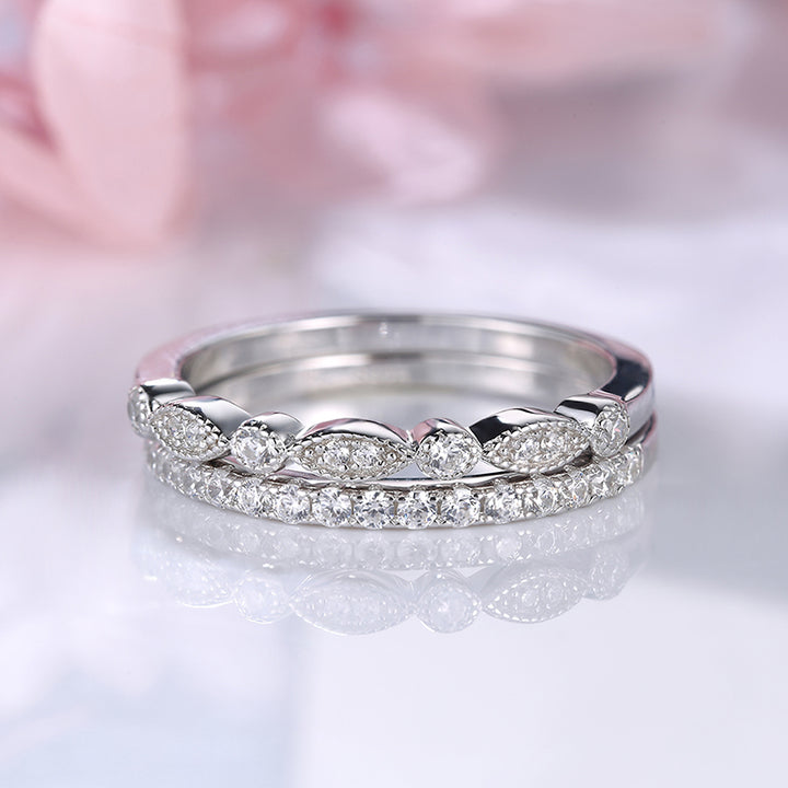 Louily Sterling Silver Stackable Art Deco Half Eternity Women's Wedding Band Set