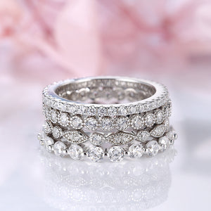 Louily Sterling Silver Four Row Full Eternity Stackable Band Set