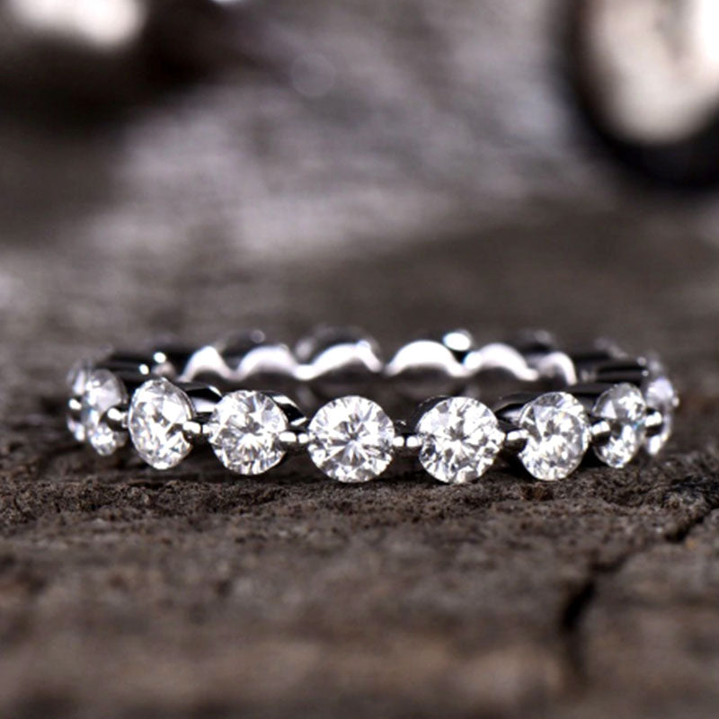 Louilyjewelry Sterling Silver Four Row Full Eternity Stackable Band Set