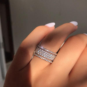 Louilyjewelry Wide Round Cut Sterling Silver Women's Wedding Band