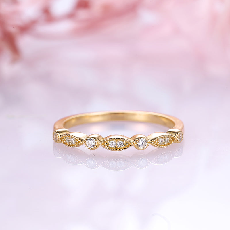 Louily Yellow Gold Art Deco Half Eternity Thin Women's Wedding Band