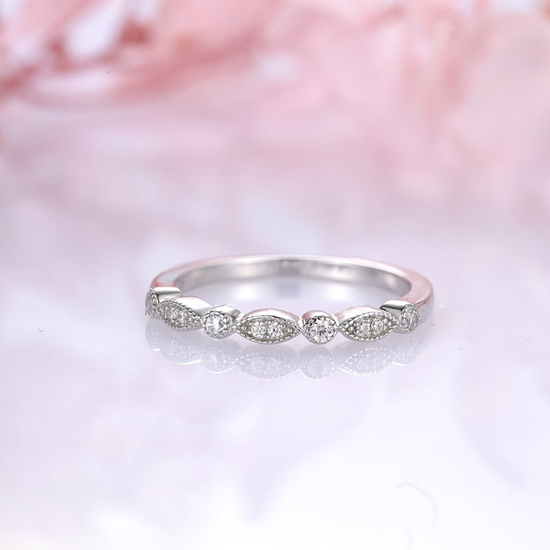 Louilyjewelry Sterling Silver Art Deco Half Eternity Women's Wedding Band
