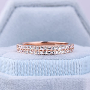 Rose Gold Double Halo Round Cut Women's Wedding Band In Sterling Silver