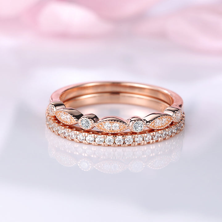 Louilyjewelry Rose Gold Stackable Art Deco Half Eternity Women's Wedding Band Set