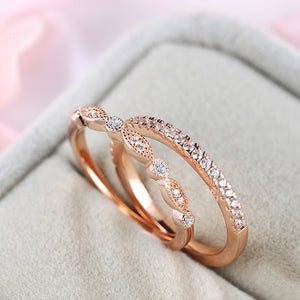 Louily Rose Gold Stackable Art Deco Half Eternity Women's Wedding Band Set