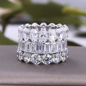 Louily Sterling Silver Gorgeous Eternity Diamond Wedding Band Set