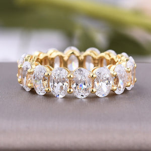 Louily Yellow Gold Eternity Oval Cut Wedding Band For Women In Sterling Silver