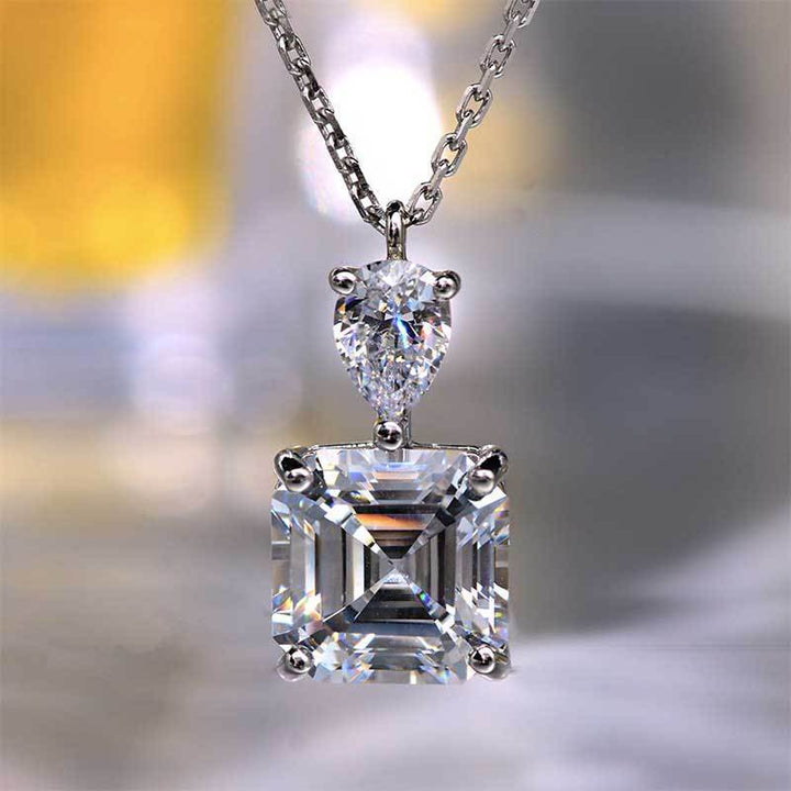 Louilyjewelry Stunning Emerald Cut White Sapphire Necklace In Sterling Silver