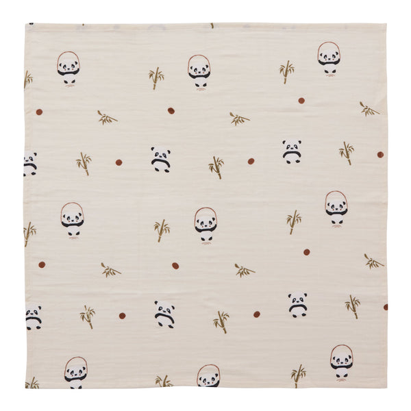 OYOY Living Design - OYOY MINI Muslin Square - Panda - 3 Pcs/Pack Muslin 805 Vanilla