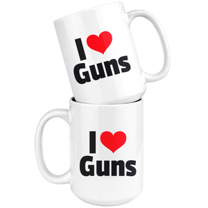 I heart Guns 15 oz Coffee Mug -- LIMITED EDITION