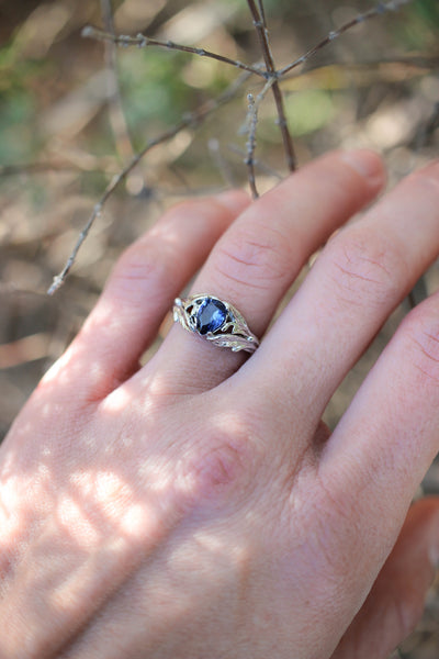 Pear cut sapphire ring, nature engagement ring / Wisteria - Eden Garden Jewelry