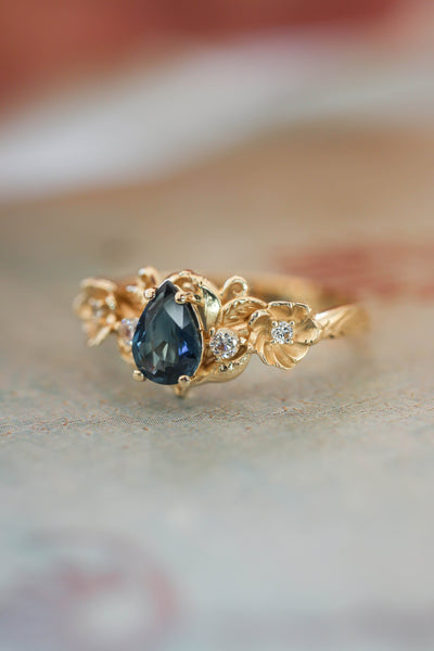 Blue sapphire and diamonds ring, flower engagement ring / Adelina - Eden Garden Jewelry