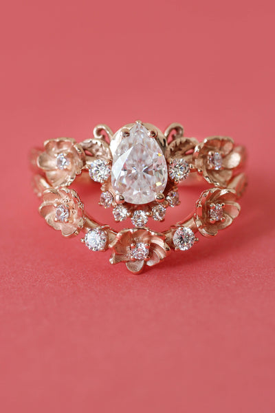 Bridal ring set with moissanites or diamonds / Adelina - Eden Garden Jewelry