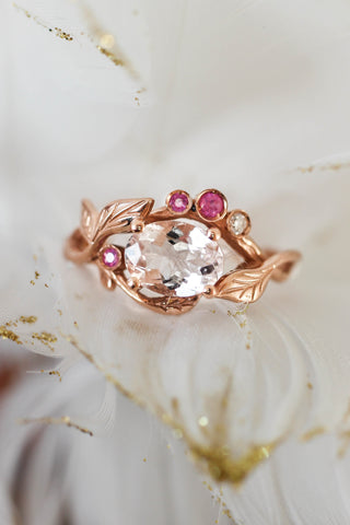 Branch engagement ring with morganite, pink sapphires and diamond