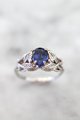 Lab sapphire engagement ring, leaves ring with pear cut gemstone