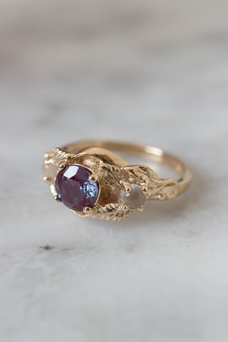 Alexandrite and moonstones engagement ring / Azalea - Eden Garden Jewelry