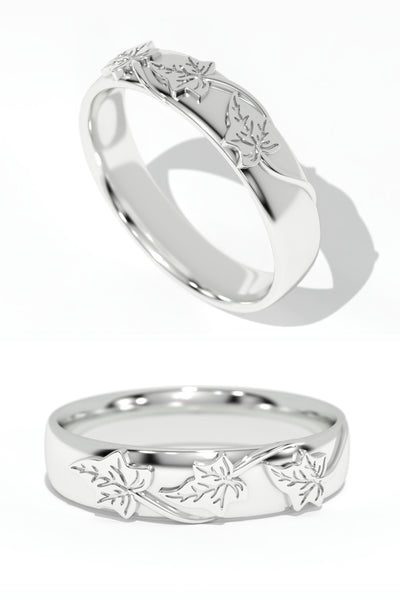 Wedding bands set for couple, ivy leaves rings - Eden Garden Jewelry