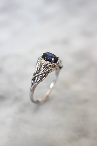 Lab sapphire engagement ring, leaves ring with pear cut gemstone - Eden Garden Jewelry