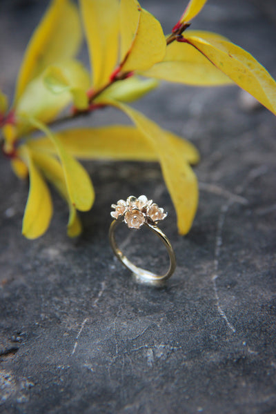 Lily of the valley bridal ring set - Eden Garden Jewelry™