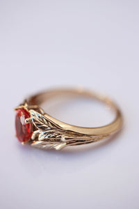 Padparadscha lab sapphire ring, leaves engagement ring / Wisteria - Eden Garden Jewelry
