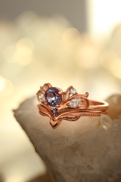 Bridal ring set with alexandrite / Swanlake - Eden Garden Jewelry™